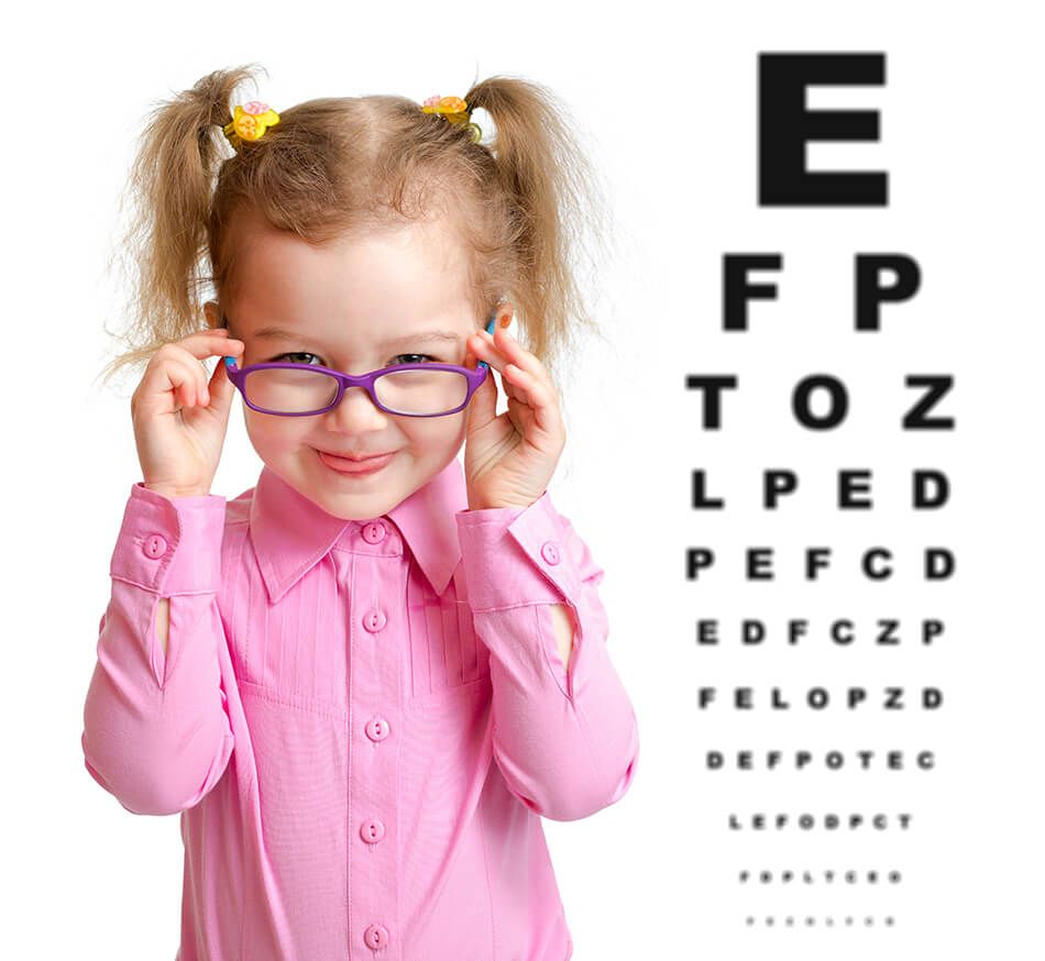 child taking an eye exam to improve vision