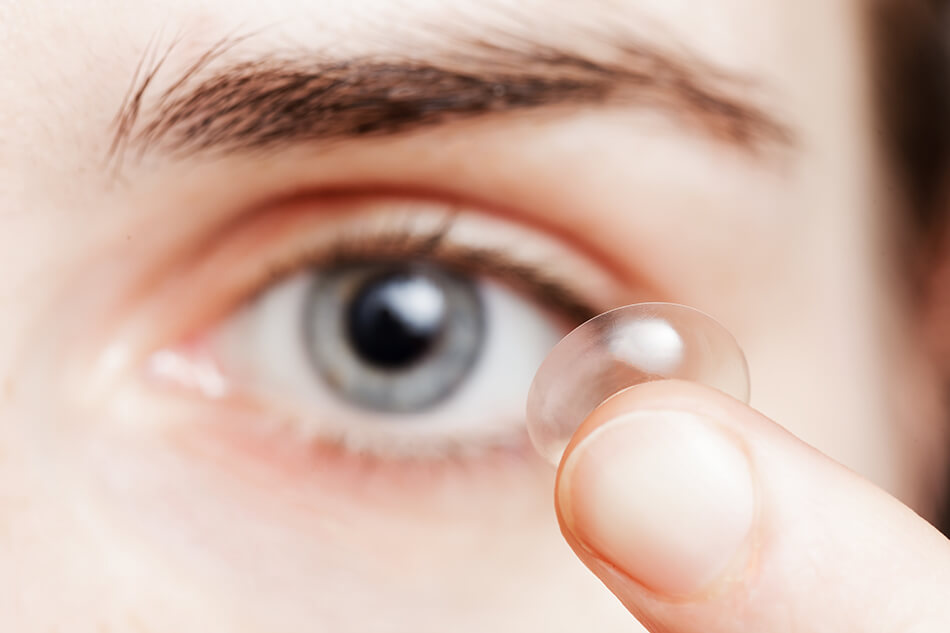 close-up of an eye contact lens