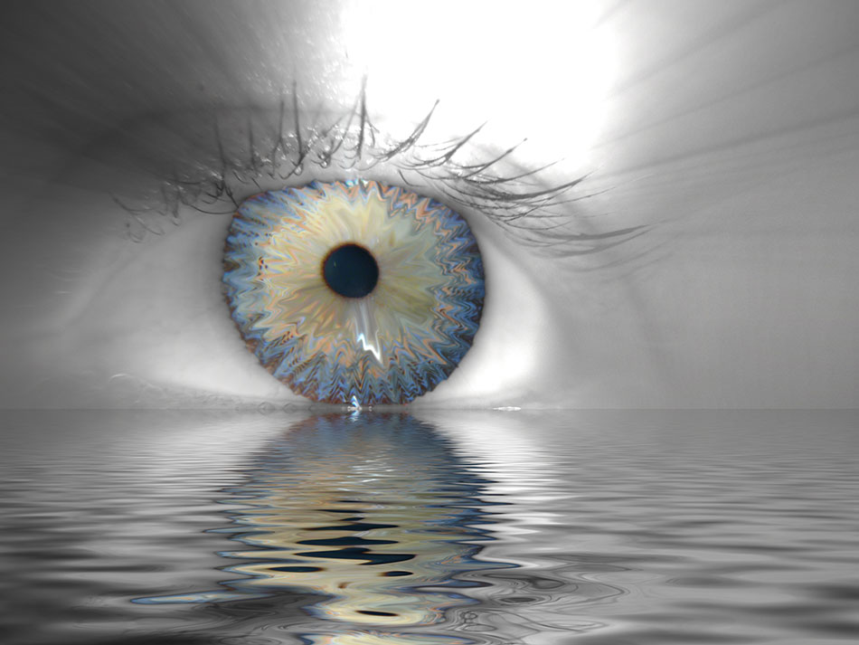 Eye reflected on a pool of water
