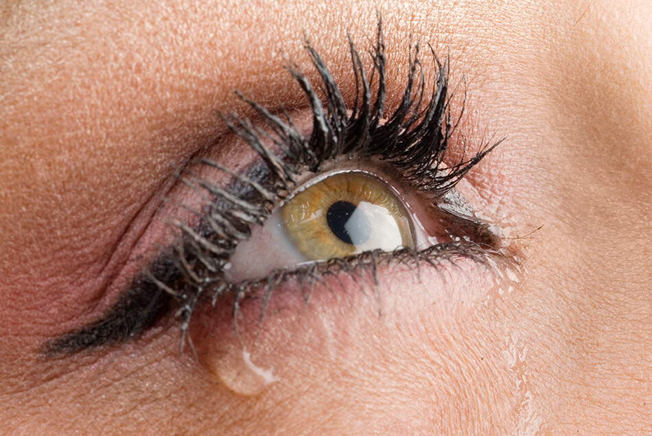 close up of eye with eye makeup and tears