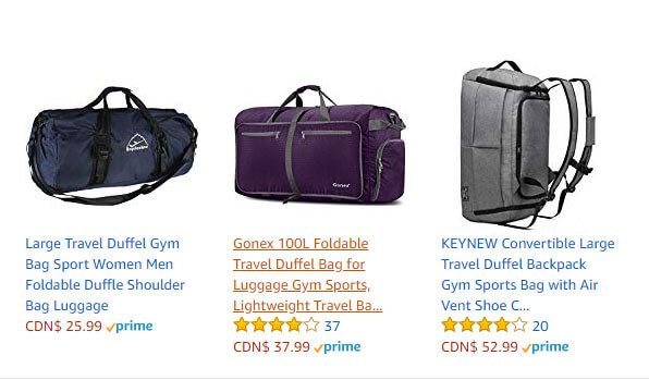 Foldable or Collapsible Duffle Bags and Backpacks.