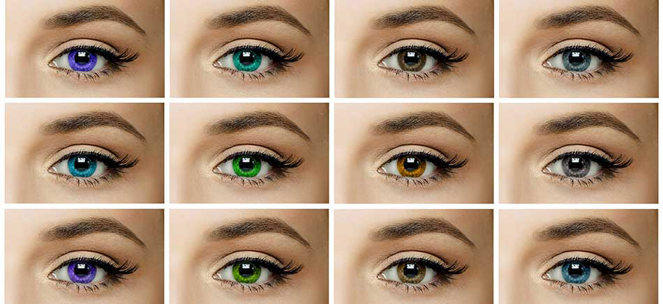 Same eyes with many different colour contact lenses