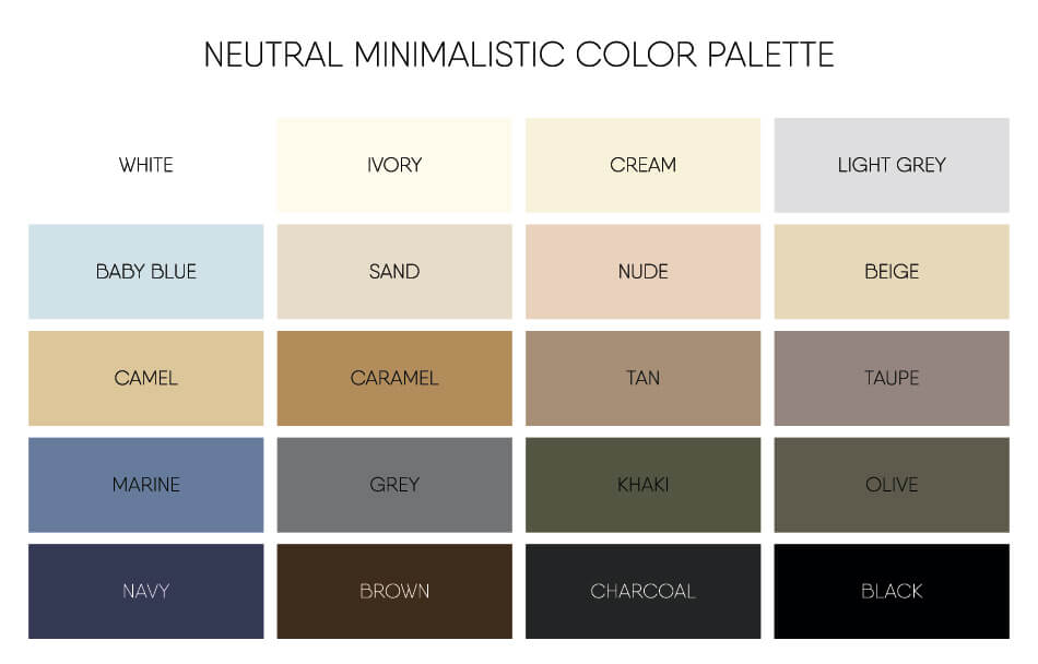 minimal colour chart to streamline your travel wardrobe