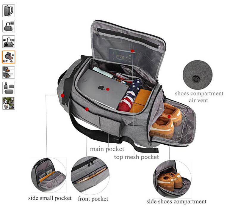 Compartments in Keynew Backpack Duffle bag.