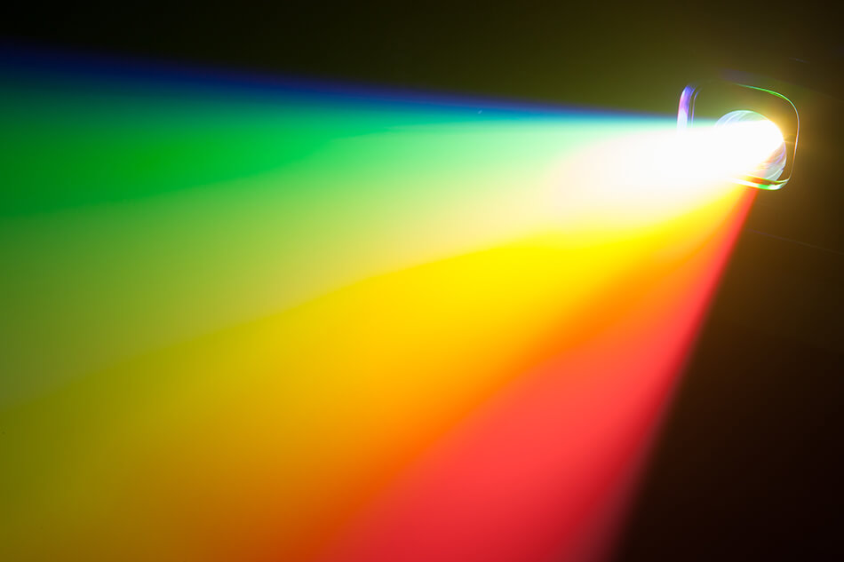 projector showing spectrum of light