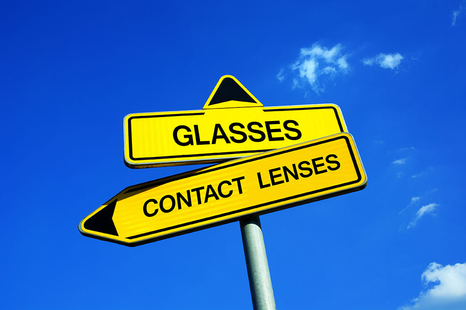 Street sign with glasses point up and contact lenses pointing left