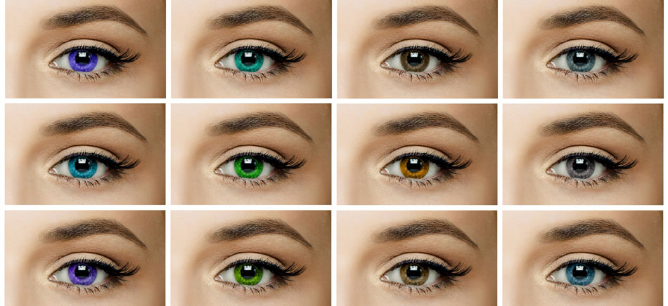 Twelve eyes showing different types of contact lenses