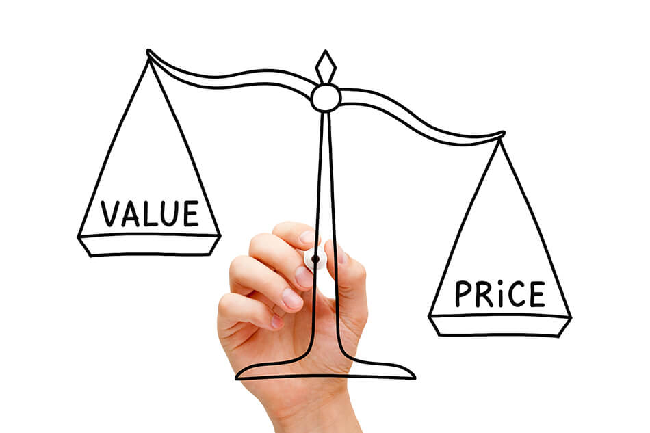 a scale balancing the words 'value' and 'price'