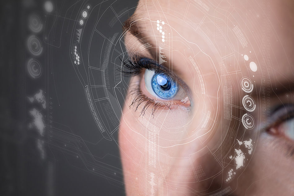 woman wearing augmented reality contacts