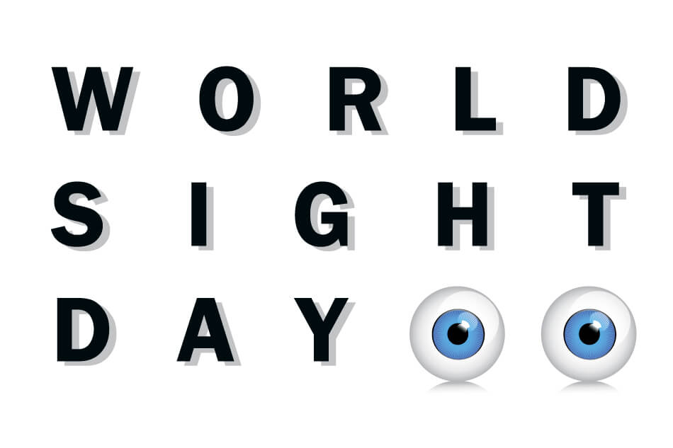 illustration of two cartoon eyeballs and the words World Sight Day