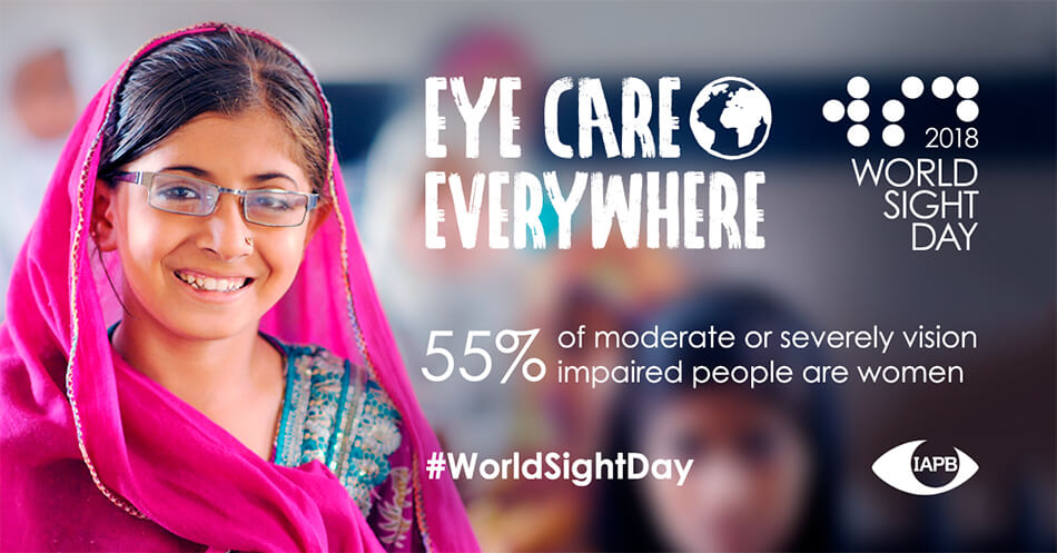 World Sight Day banner that reads 55 percent of vision impaired people are women